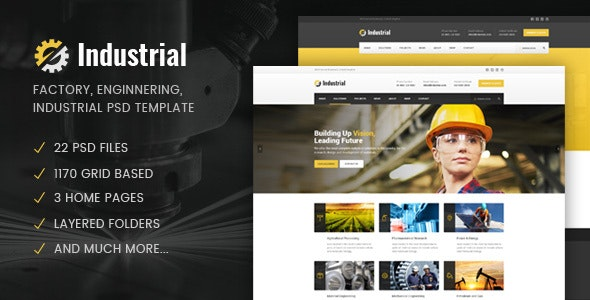Industrial - Factory / Industry / Engineering PSD Template - Business Corporate
