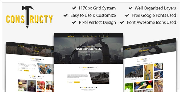 Constructly – Construction, Architecture, Medical, Education, Corporate, Template - Photoshop UI Templates
