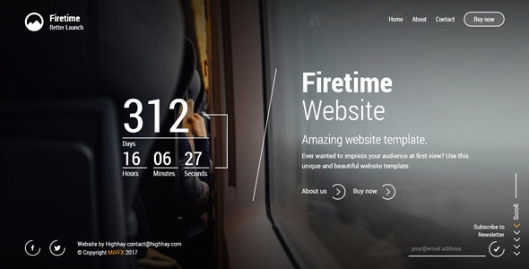 Firetime - A Freshly New creative template for Coming soon page - Under Construction Specialty Pages