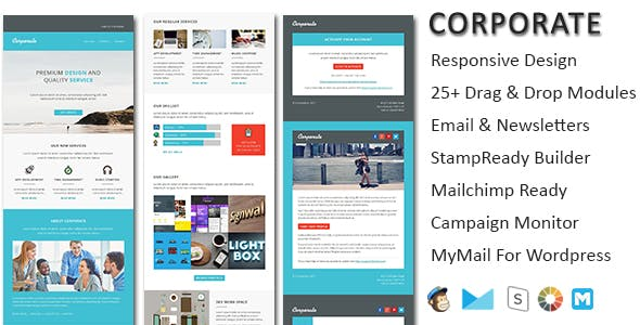 Corporate - responsive email newsletter templates with online Stampready & Mailchimp Builders Access