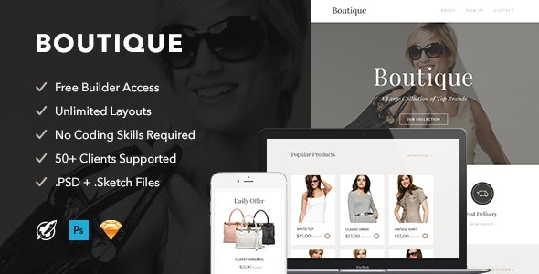 Boutique - Responsive Email + Themebuilder Access - Email Templates Marketing
