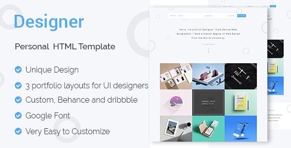DESIGNER - UI & UX Designers Portfolio HTML Template - Portfolio Creative