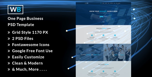 WB- Creative One Page PSD Template. - Business Corporate