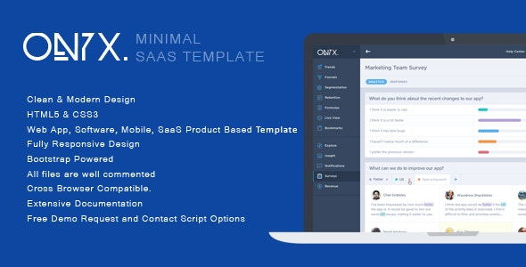 Onyx - Minimal SaaS Product Template - Software Technology