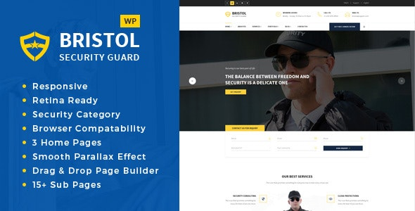 Bristol - Security & Guarding Services WordPress Theme - Business Corporate