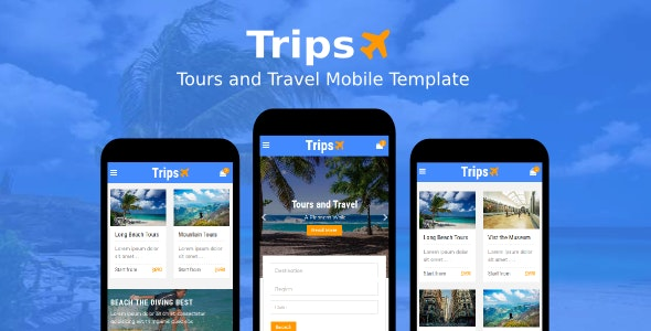 Trips - Tours and Travel Mobile Template - Mobile Site Templates