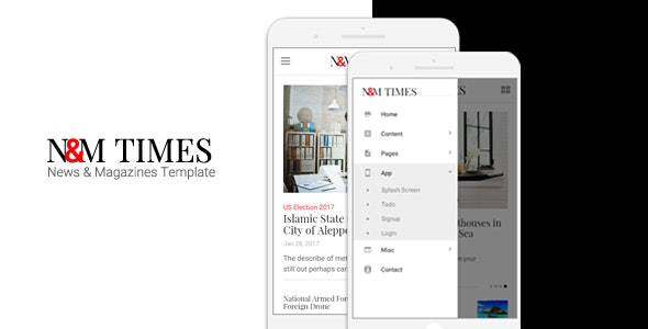 N&M Times - News/Magazines Mobile Template - Mobile Site Templates
