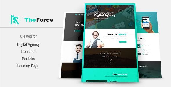 TheForce Digital Agency, Personal, App Landing PSD Template - Creative Photoshop
