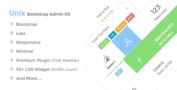Unix Bootstrap Admin kit - Admin Templates Site Templates