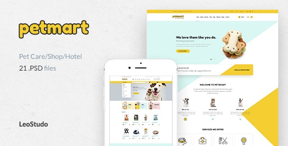 Pet Care, Shop & Hotel | Petmart - Retail PSD Templates