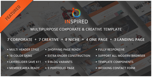 Inspired Multipurpose corporate and creative template