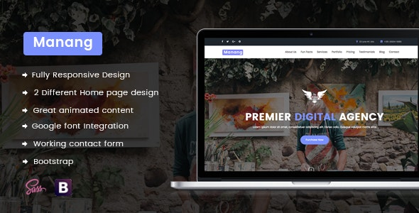 Manang - One Page Parallax - Corporate Site Templates