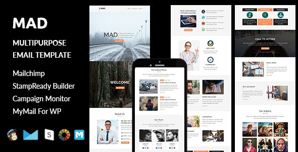 Mad - Multipurpose Responsive Email Template with Stampready Builder Access - Email Templates Marketing