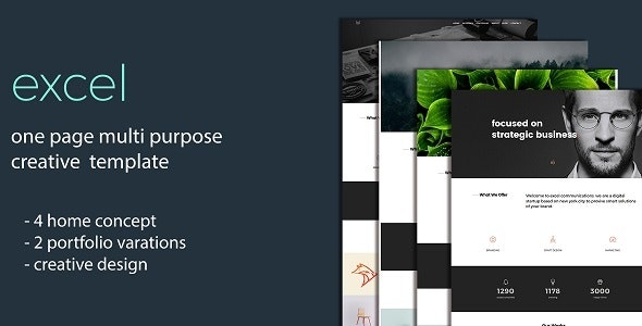 Excel - One Page Creative Template - Creative Site Templates