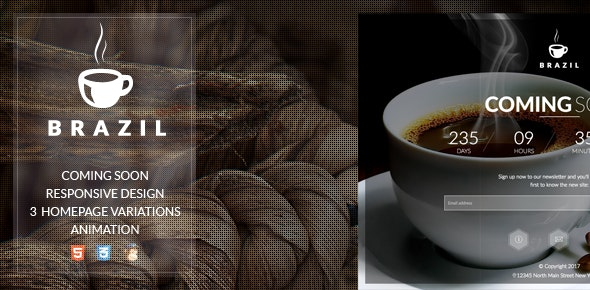 Brazil Coffee || Countdown || Coming soon - Under Construction Specialty Pages