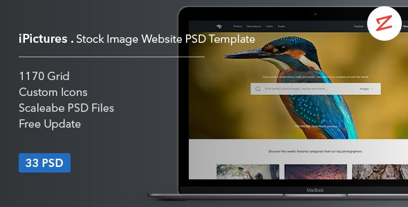 iPictures Stock Image Website PSD Template - Shopping Retail