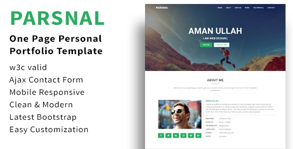 Parsnal - Personal Portfolio html5 template - Personal Site Templates