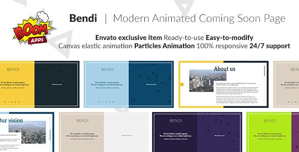 Bendi - Modern animated coming soon page - Under Construction Specialty Pages
