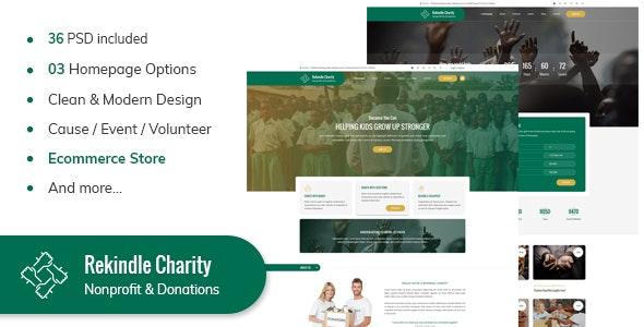 Rekindel Charity PSD Template - Charity Nonprofit