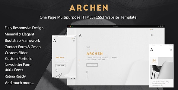 ARCHEN - One Page Multipurpose HTML5/CSS3 Website Template - Creative Site Templates