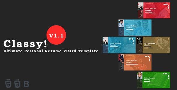 Classy - Ultimate Personal Resume VCard / Blog / Portfolio Template - Personal Site Templates