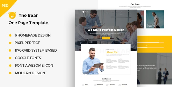 The Bear - One Page PSD Business Template - Corporate Photoshop