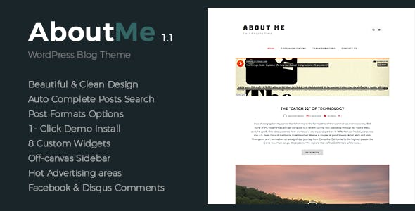 About Me - Creative & Clean WordPress Theme
