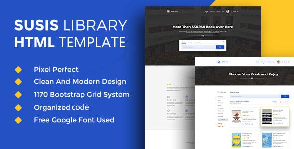 Susis Library & Book Showcase HTML5 Template