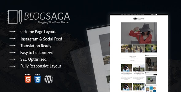 BlogSaga - WordPress Blog Theme - Blog / Magazine WordPress