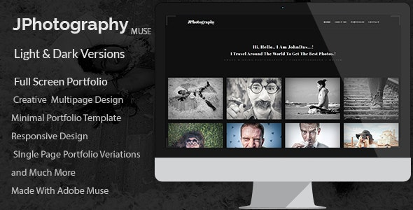 JPhotography - Minimal Photography Portfolio Muse Template - Creative Muse Templates