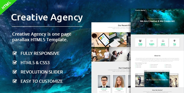 Creative Agency - One Page HTML Template - Creative Site Templates
