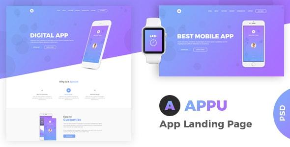 Appu - App Landing PSD Template - Photoshop UI Templates