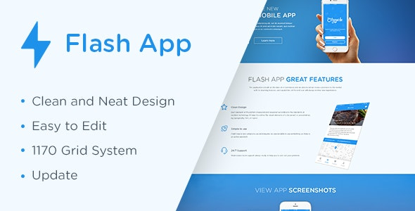 Flash App — Landing Page HTML5 Template - Technology Site Templates