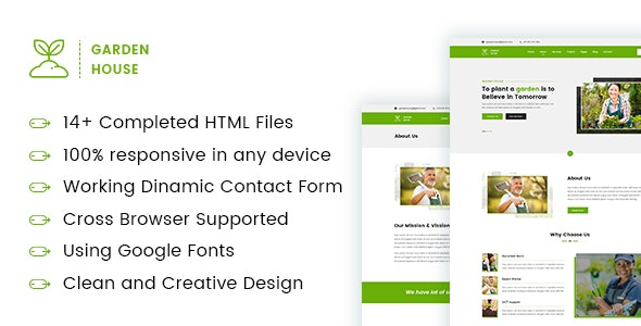 Garden-House - Gardening and Landscaping Responsive HTML5 Template - Business Corporate