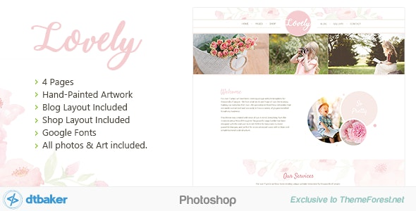 Lovely - Soft Pink Floral Photoshop - Retail Photoshop