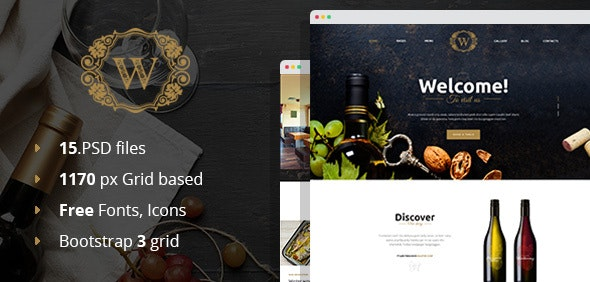 Best Wine - Winery PSD Template - Restaurants & Cafes Entertainment
