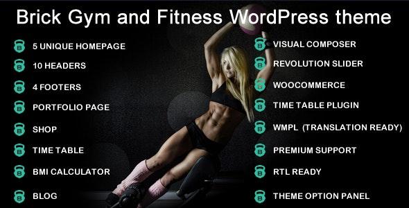 Gym brick gym fitness WordPress Theme RTL - Health & Beauty Retail