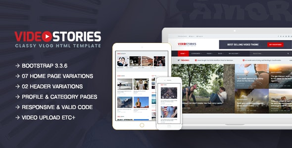 VideoStories - A Powerful Responsive Video Blogging HTML5 Template - Entertainment Site Templates