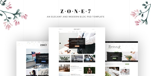 Zone7 - An Elegant And Modern Blog PSD Template - Personal Photoshop