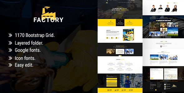 Factory - One page PSD Template - Photoshop UI Templates