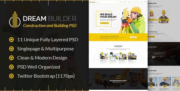 Dream Builder - Construction PSD Template - Business Corporate