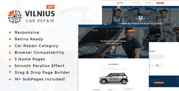 Vilnius - Auto Mechanic Repair  WordPress Theme - Business Corporate