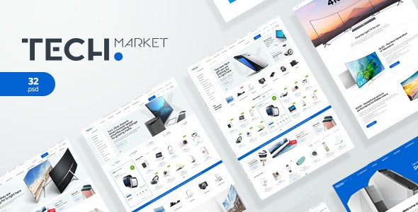 TechMarket - Electronics eCommerce PSD - Retail PSD Templates