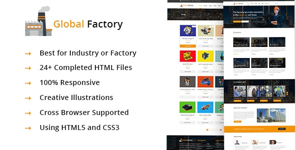 Global Factory- Minimal factory & industry HTML5 Template - Business Corporate