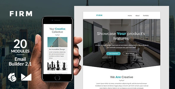 Firm Email Template + Online Emailbuilder 2.1 - Newsletters Email Templates