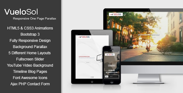 Vuelosol - HTML5 Responsive One Page Parallax Template - Portfolio Creative