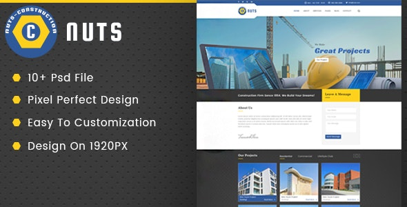 Nuts Construction & Business PSD Template - Business Corporate