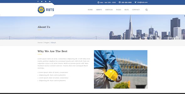 Nuts Construction & Business PSD Template