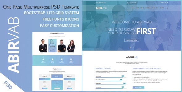 ABIRVAB - One Page Multipurpose PSD Template - Corporate Photoshop