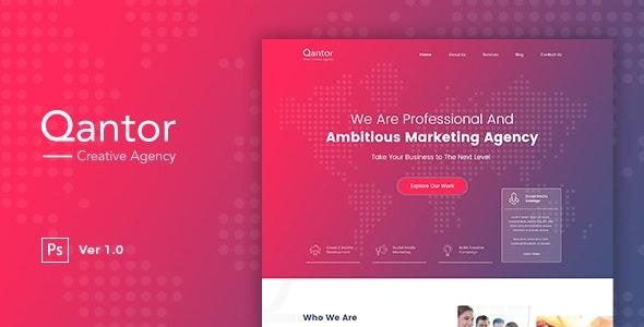 Qantor - Creative Agency Office PSD Template - Corporate Photoshop